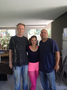 In another splendid wardrobe choice playing Vera with Director Mark Savage (left) and Home owner Javier on location In Tampa, FLA